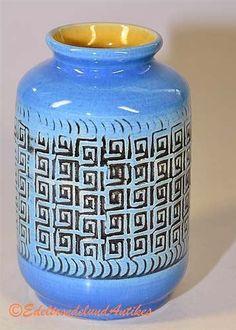 VintaGe Ü Ueberlacker Keramik Vase Germany blau mit Label    eBay