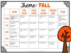 Tons of fall themed activities and ideas. Weekly plan includes books fine motor gross motor sensory bins snacks and more! Perfect for fall in tot school preschool or kindergarten. Lesson Plans For Toddlers, Preschool Lesson Plans, Preschool At Home, Preschool Curriculum, Preschool Classroom, Preschool Learning, In Kindergarten, Homeschooling, Curriculum Planning
