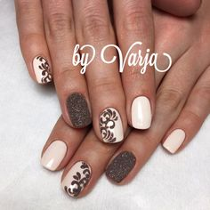 I like the dark glitter with the neutral off white.