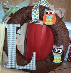 owl baby shower!  i love this wreath!