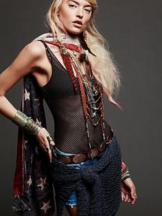 gypsy- layers, lots of necklaces-beads, bangles and cuff bracelets, long flowing hair,