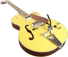 Gretsch Guitars G6196TSP-BY Country Club Hollowbody Electric Guitar Bamboo Yellow Bamboo Yellow, Close Angle