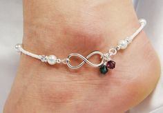 Anklet, Ankle Bracelet, Infinity Symbol Connector, His and Her Birthstone Dangles, White Glass Pearls, Forever Bride Bridal, Wedding, Beach