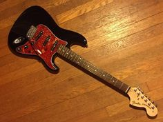 Black Fender Strat with Tortoise Shell Pickguard and 70's Fat Headstock #Fender #electric #guitar