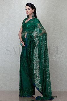 Emerald French Lace Saree   Satya Paul