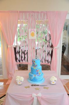 A beautiful princess party with a stunning birthday cake! See more party ideas at CatchMyParty.com