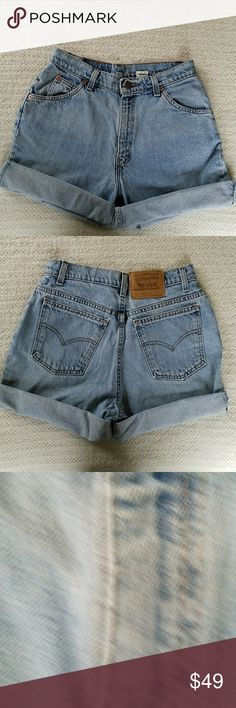 """VINTAGE  RARE LEVI'S 950 HIGH WAISTED DENIM.SHORTS RARE VINTAGE LEVI'S 950 HIGH WAISTED DENIM SHORTS Size 29. Size on label says 10 REG. Actual measurements are waist is 14.5"""" rise is 11.75"""" and inseam is cuffed 3"""" and 6.5"""" uncuffed. All measurements are approximate and taken flat.  The back Levi's tag is white, most are red or orange. Levi's Shorts Jean Shorts"""