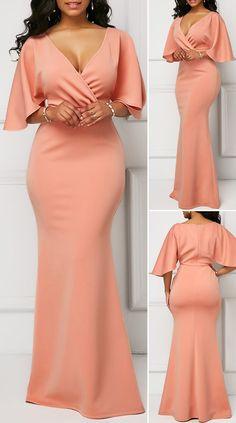 V Neck Pink Half Sleeve Mermaid Dress HOT SALE! cute dresses, beautiful dresses, pretty dresses, c. African Lace Dresses, African Dresses For Women, African Attire, African Fashion Dresses, Elegant Dresses For Women, Pretty Dresses, Beautiful Dresses, Cute Dress Outfits, Classy Outfits
