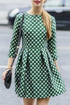 Heart Print Dress : Full Heart Print 3/4 Sleeves A Line Dress