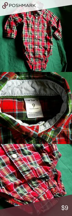Carters Boys 9 mth Longsleeve Red Plaid bodysuit NWOT Carters Boys 9 month Longsleeve Red Plaid bodysuit with functional button up front and cuffs. This is one of the cutest and most genius pieces of clothing you can have for your little boy! Sharp dressed with the appearance of a tucked in shirt!! Perfect for fall paired with jeans and boots? NWOT Only washed once in fragrance free detergent and never worn. Check out my other kids clothes, 9 months boys too, to save 20% on a bundle…