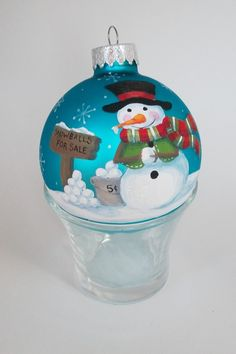 Hand Painted Christmas Ornament  Snowman by StarofWonderDesigns, $25.00