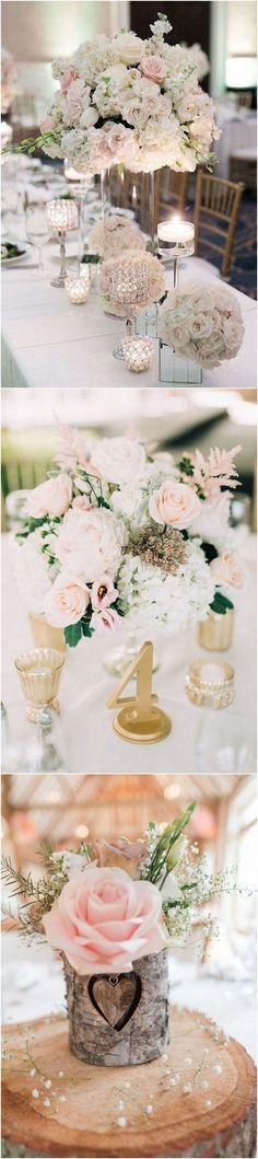 18 Elegant Blush Wedding Centerpieces for Your Big Day - Page 2 of 2 - EmmaLovesWeddings Blush Wedding Centerpieces, Elegant Centerpieces, Wedding Reception Decorations, Flower Centerpieces, Wedding Bouquets, Centerpiece Ideas, Trendy Wedding, Elegant Wedding, Floral Wedding