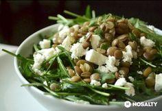 Rukkolás lencsesaláta fetasajttal/ Ruccola feta and lentil salad Proof Of The Pudding, Lentil Salad, Salad Dressing Recipes, Meatless Monday, Lentils, Tofu, Green Beans, Feta, Potato Salad