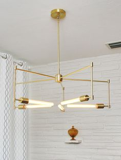 handmade brass pendant light fixture 'asterix' by studioPGRB