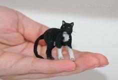 OOAK Realistic Handmade ~ Black & White Cat ~ Miniature Dollhouse Sculpture #Handmade