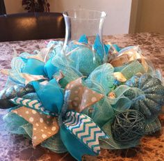 deco mesh by WonderfulWreathsKim Deco Mesh Crafts, Wreath Crafts, Diy Wreath, Diy Crafts, Wreath Ideas, Hawaian Party, Beach Centerpieces, Summer Deco, Candle Rings