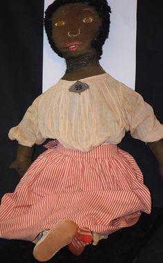 Antique Doll Black Cloth Rag Folk Art Primitive Large