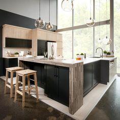 Cuisine : Luxembourg | Armoire de cuisine: Polylac et thermoplastique | Modèle de portes : Classique | Couleur des portes : 9120 | Comptoir : Quartz