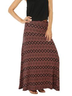 Bring festival fashion to the hallways with a tribal print maxi skirt!