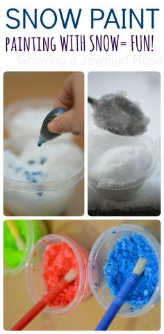MAKE PAINT FROM SNOW- SO FUN!  This activity was a great way to lure my kids inside on a snowy day {A Warm Way To Play With Snow}
