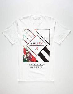 940e2bbd8f21 HURLEY Box Stripe Fill Mens T-Shirt - WHITE - 268031150
