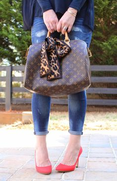 TiffanyD: Classic and Fun OOTD... New SJP shoes (speedy 35, leopard bandeau, sjp lady red shoes)