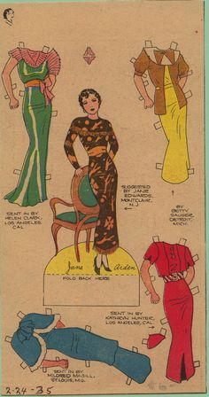 I just found this in a box of non-paper doll items. It is a very different look for Jane than what I am used to. I think this might become one of the top 5 Jane Arden paper dolls in my collection...