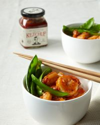 Sweet-and-Sour Shrimp Recipe:  New Use for Ketchup: To make the delicious sauce for this dish, simply whisk ketchup with soy sauce, chicken broth, sugar, chile sauce, cornstarch and vinegar. on Food & Wine