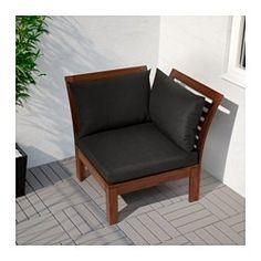 IKEA - ÄPPLARÖ, Hoekelement, buiten, Door verschillende zitelementen te combineren, kan je een loungeset in een vorm en afmeting samenstellen die bij je terras, balkon of tuin past.Je kan het zitcomfort nog verder verbeteren en je zitbank een persoonlijk tintje geven door deze te completeren met zit- en rugkussens in verschillende maten, kleuren en dessins.Voor extra slijtvastheid, en om de natuurlijke uitstraling van het hout te kunnen zien, is het meubel voorbehandeld met een laag…