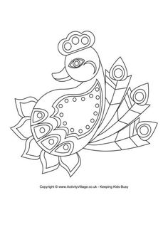 RANGOLI:  Here's a lovely rangoli colouring page in the shape of a glorious peacock - a bird that often features in rangoli designs, FREE download.