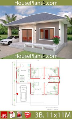 Simple House Design Plans with 3 Bedrooms Full Plans - House Plans Sam Survey: Moms Fe Simple House Plans, My House Plans, Simple House Design, Bedroom House Plans, Modern House Plans, Tiny House Design, Modern House Design, House Floor Plans, Bungalow Haus Design
