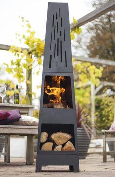 Wood Heater Black Steel Burner Store Patio Garden Fire Outdoor Chimenea