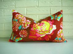 Pillow Cover Accent Decorative Throw - Colorful Brown Pink Yellow Orange Aqua Floral - Bohemian Chic Girls Room Nursery - Fall Summer 12x20. $32.00, via Etsy.