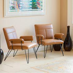 Set of 2 Modern Mid Century Design Tan Vinyl Arm Chairs w/ Steel Accent #GreatDealFurniture #MidCentury