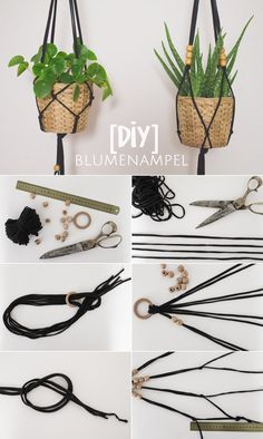 Einfache Makramé Blumenampel aus Jerseygarn {DIY Whether on the terrace, above the balcony or in the apartment: hanging baskets – Hanging Flower Pots, Hanging Baskets, Hanging Planters, Diy 2019, Fleurs Diy, Flowers In Jars, Diy Flowers, Fresh Flowers, Diy Couture