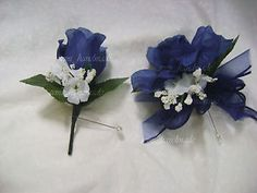 Navy Blue Open Rose Pin Corsage Boutonniere Wedding Prom Party ...
