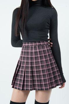 Check Top-Stitch Pleat Skirt