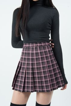 Check Top-Stitch Pleat Skirt