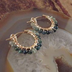 14K Gold Filled Hoops with Indicolite Blue by TwoFeathersNY