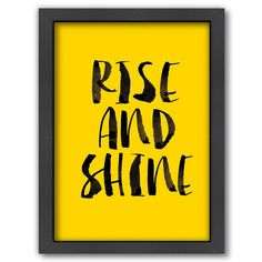 Medicine Cabinet - Rise and Shine Picture Bathroom Decor - Hidden Cabinet - Bright Yellow Hidden Cabinet, Happy Morning, Contemporary Wall Art, Good Life Quotes, Wall Art Quotes, Typography Poster, Framed Wall Art, Cleaning Wipes, 5 D