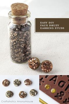 Love the look of Druzy earrings! Click to learn how to make these easy Druzy stud earrings.