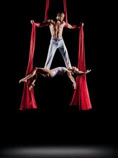 Alexander Streltsov and Christine Van Loo. Photo by Richard Calmes. Duo aerial silks. Wow!!