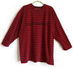 MARIMEKKO Red & Brown Shirt Unisex Striped Top 3/4 Sleeve Large Shirt Comfortable Home Clothing Marimekko Clothing Vintage Cotton Shirt by Vintageby2sisters on Etsy