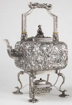 Samuel Kirk sterling silver repousse kettle on stand