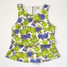 J.Crew Rose Floral Peplum Top❤ 100% cotton. Weighty structured jersey. No sleeve. Exposed 5.5 inch chunky zipper at neck,. 4 inch darts. Full length: 24 inches, peplum skirting is 7 inches.  Medium. Chest: 18.5 inches measured laying flat. Model cover shot is a style Idea.❤ J. Crew Tops