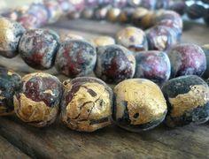 Buddha Beads  Handmade Raku pottery with gold foil by jNicLoft, $9.99