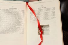 """The ring was inside the book, hanging by a red thread with a bookmark on the story, """"Brides on Trial."""" 