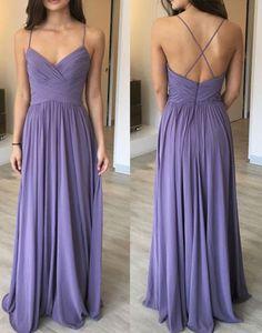 Purple chiffon long prom dress, bridesmaid dresses