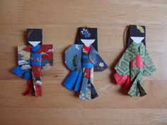 Japanese Origami Paper Doll Christmas Tree Ornaments Handmade by