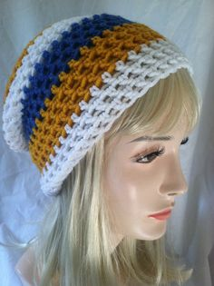Beanie semi slouch  bright blue yellow and white by ScarletsCorner, $20.00